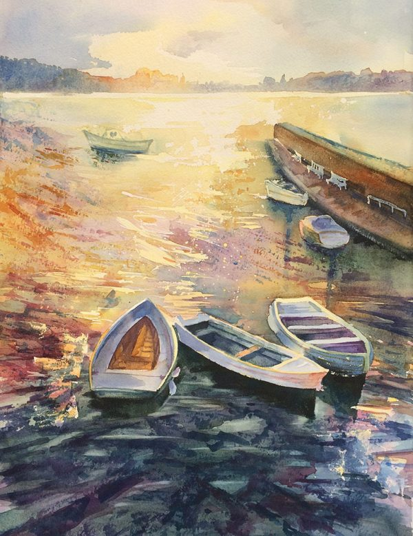Diana Savova, Watercolour painting, The shore, 40x50cm, Sold