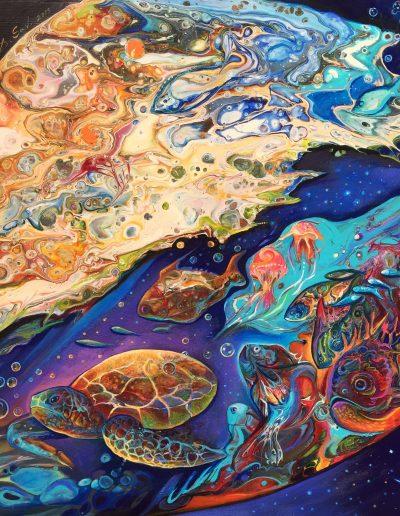 Sea world, Acrylic on board, 40x40cm, Sold