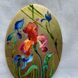 Iris, acrylic, golden leafs on wooden board, 14x20cm